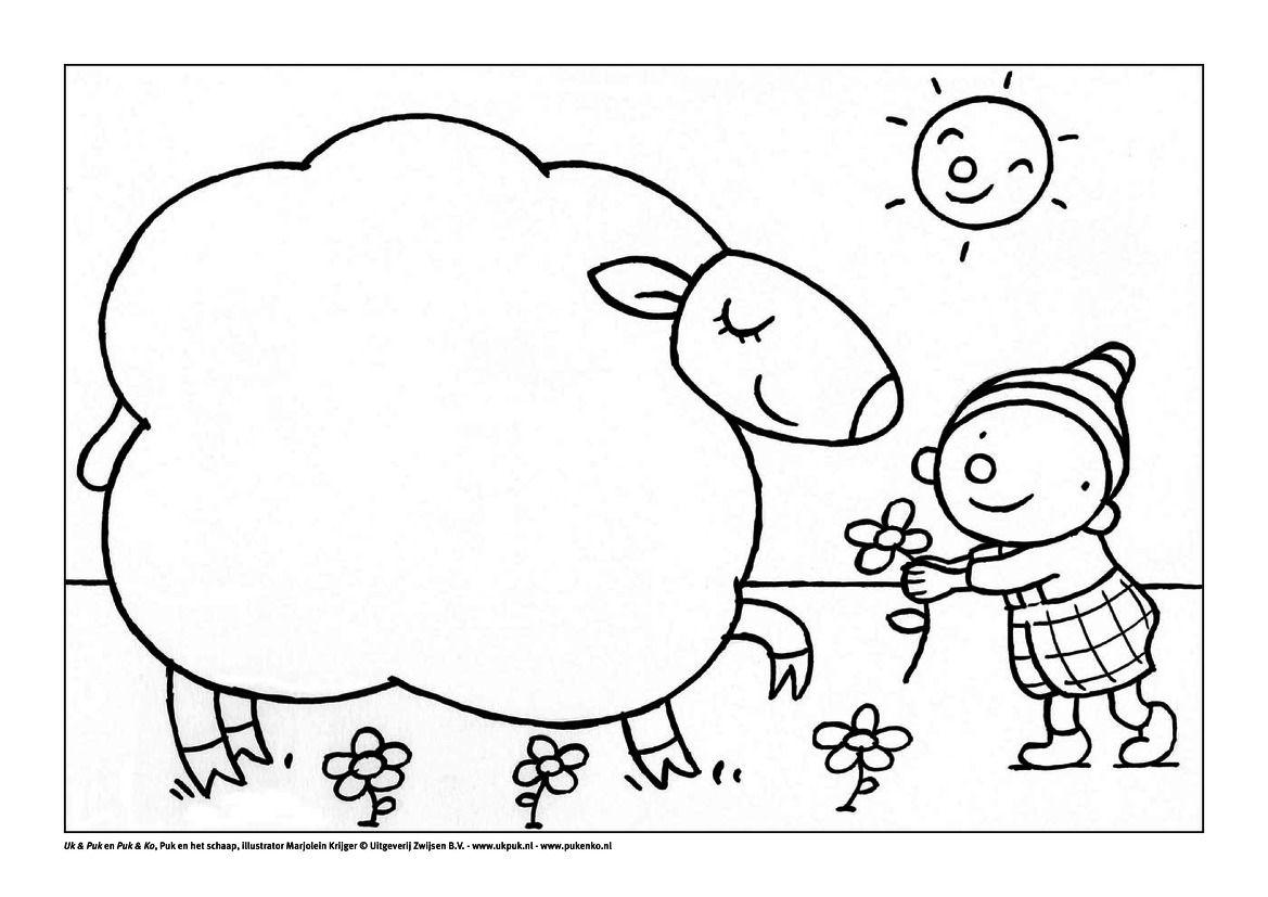 puk en het schaap kleurplaten kinderboerderij schapen