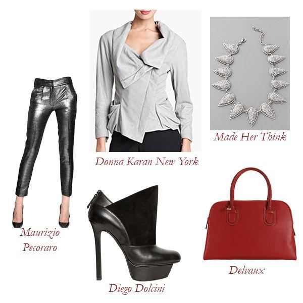 Donna Karan Collection Asymmetrical Metallic Suede Jacket