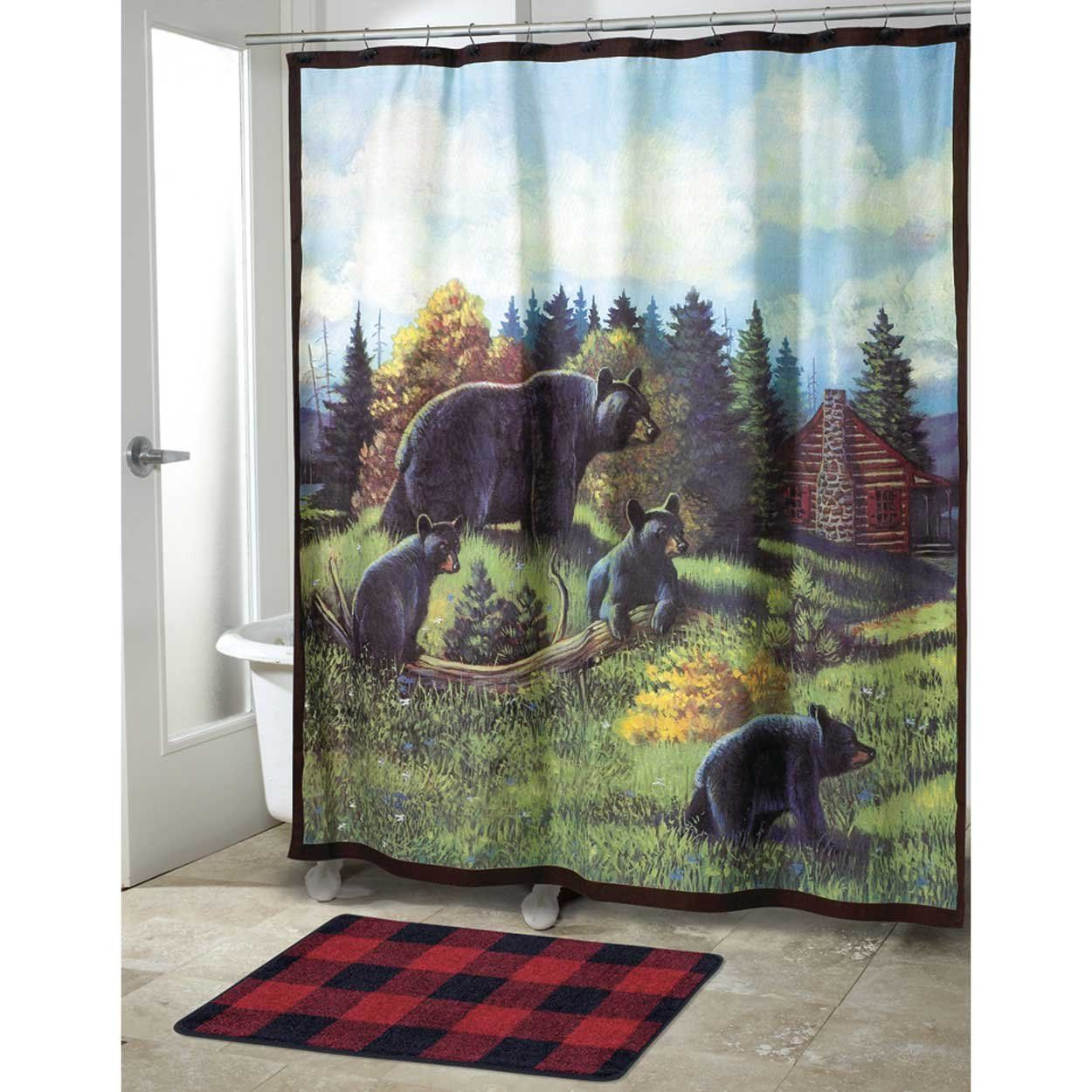 Black Bear Lodge Shower Curtain Collection | Black bear lodge, Black bear decor, Fabric shower ...