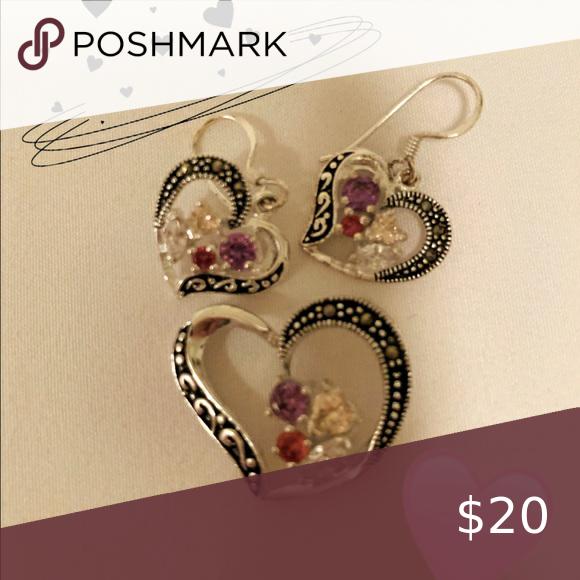 Beautiful marcasite heart trio charm earrings set