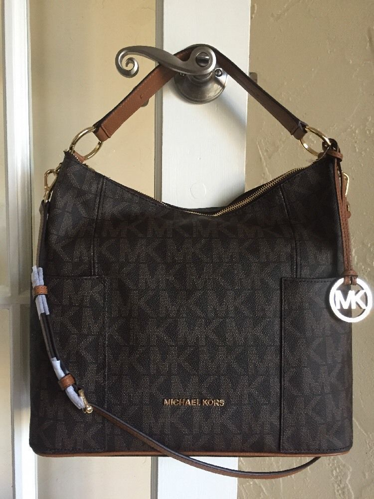 Michael Kors Anita Large Convertible Shoulder Bag Crossbody Brown Signature   9c4420942dd4a