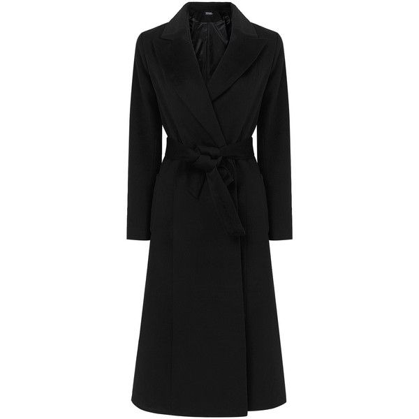Yoins Black Longline Duster Coat with Belt ($76) ❤ liked on Polyvore featuring outerwear, coats, yoins, black, longline coat, top coat, coat with belt, formal coat and belt coat