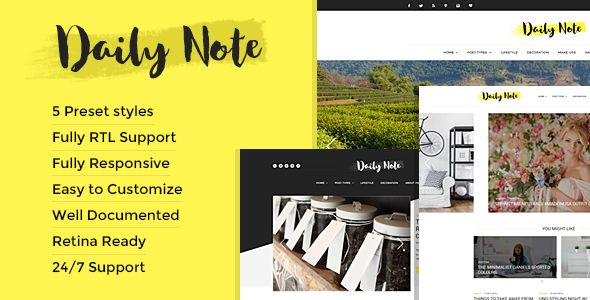 Daily Note - Creative and Responsive Blog Template Wordpress - daily note template
