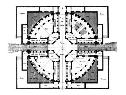 Projet de maison de campagne - Plan - Claude-Nicolas Ledoux
