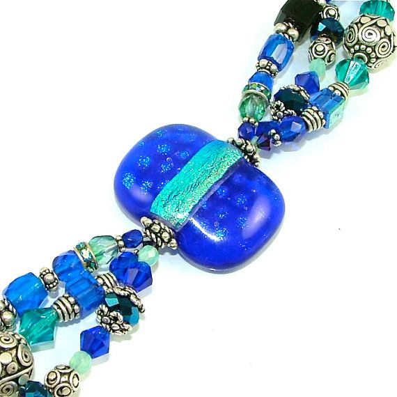 Vibrant Ocean Hues Triple Stranded Beaded by SylviaSwaseyDesigns
