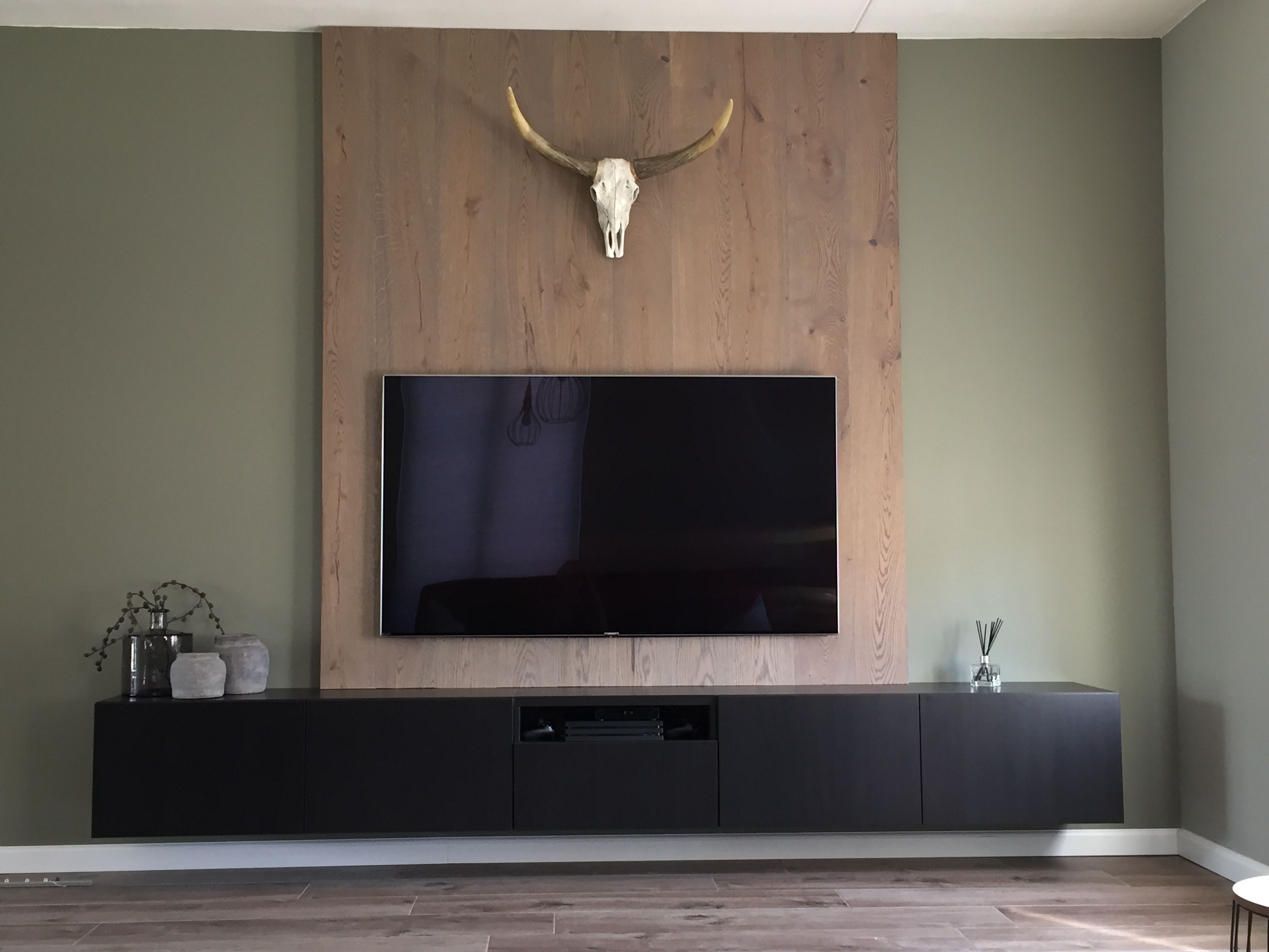 Tv Meubel Ikea Houten Achterwand Tv Muren Pinterest Wand  # Meuble Tv Ware