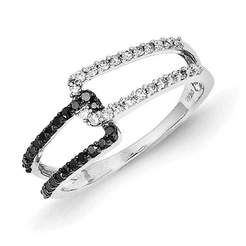 14k White Gold w/ Black and White Diamond Ring - QGY10734AA - KevinJewelers.com