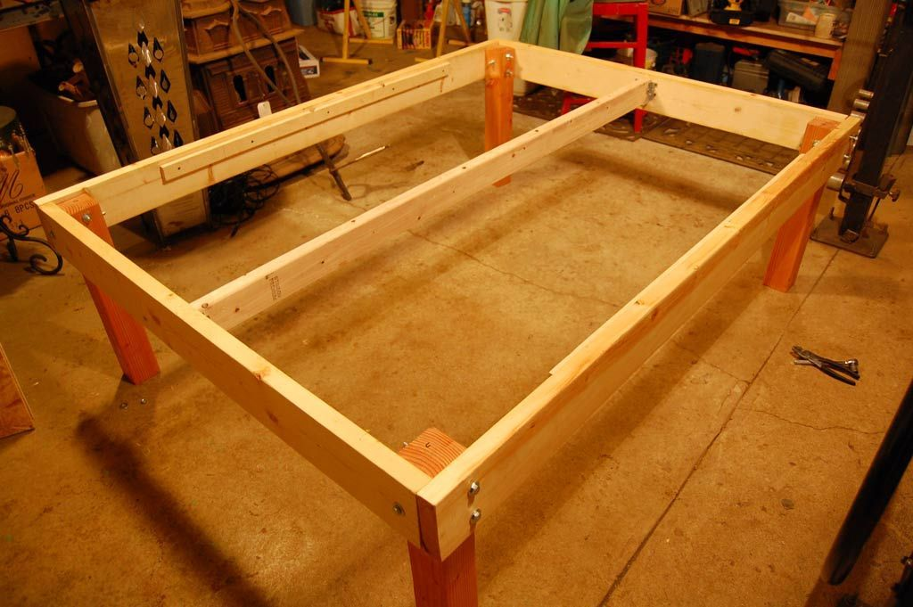 DIY Stained Wood Raised Platform Bed Frame Finished