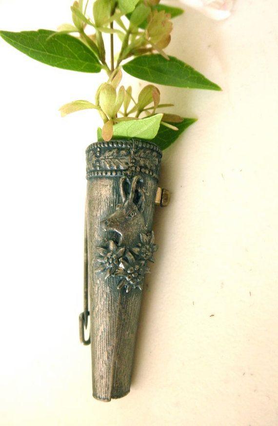 Antique Alpine Pewter Bud Vase Brooch Edelweiss Flower Brooch
