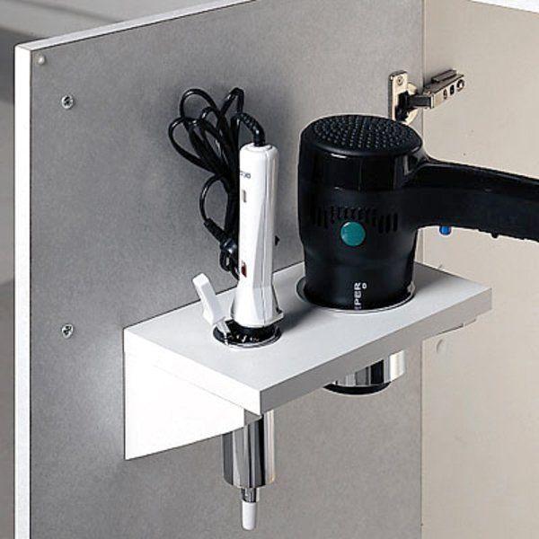 Bathroom storage for blow dryer