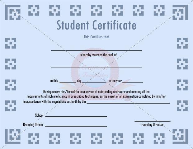 Student Certificate Template Student Certificate Templates