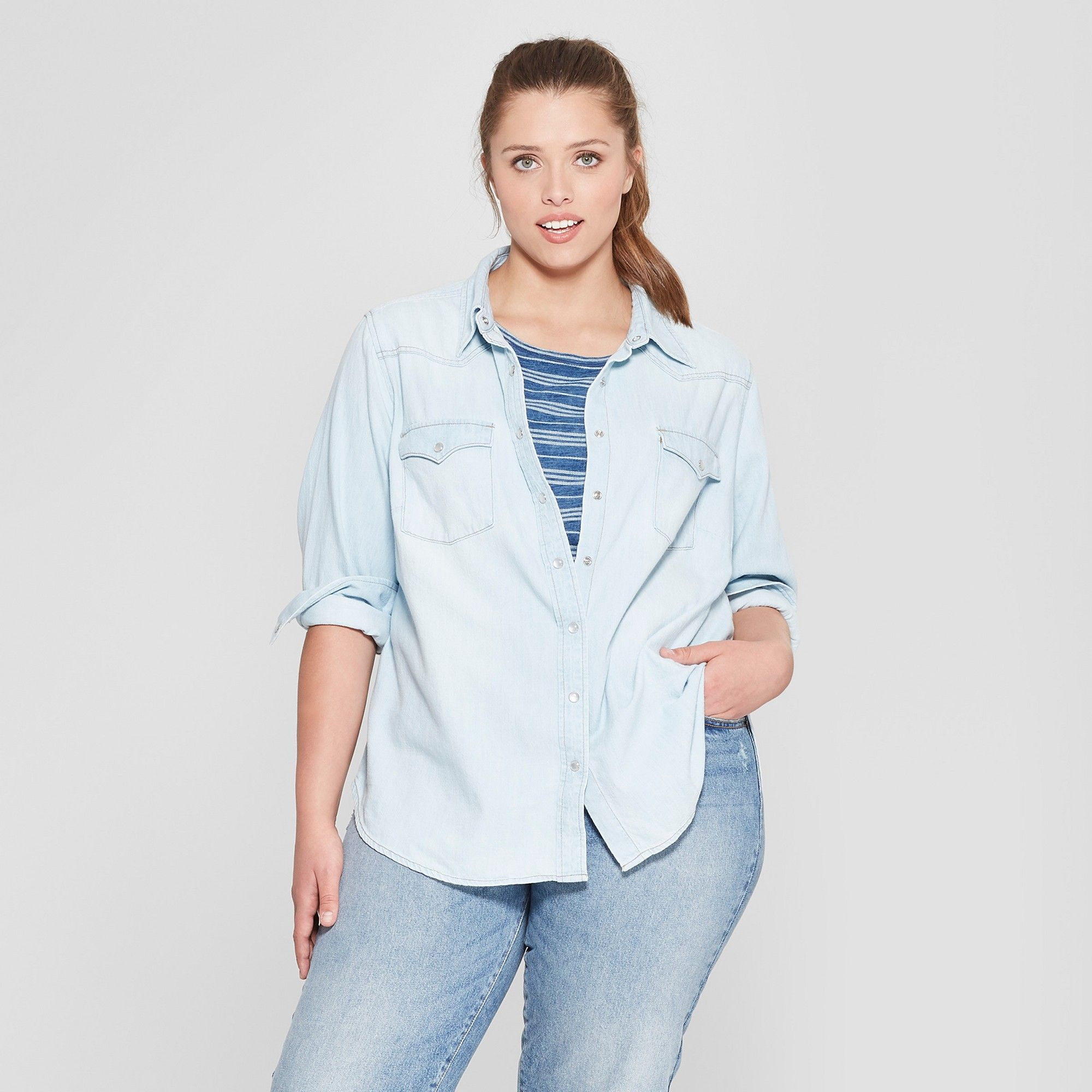 f9e39960c63 Women s Plus Size Long Sleeve Labette Denim Shirt - Universal Thread Light  Wash 3X