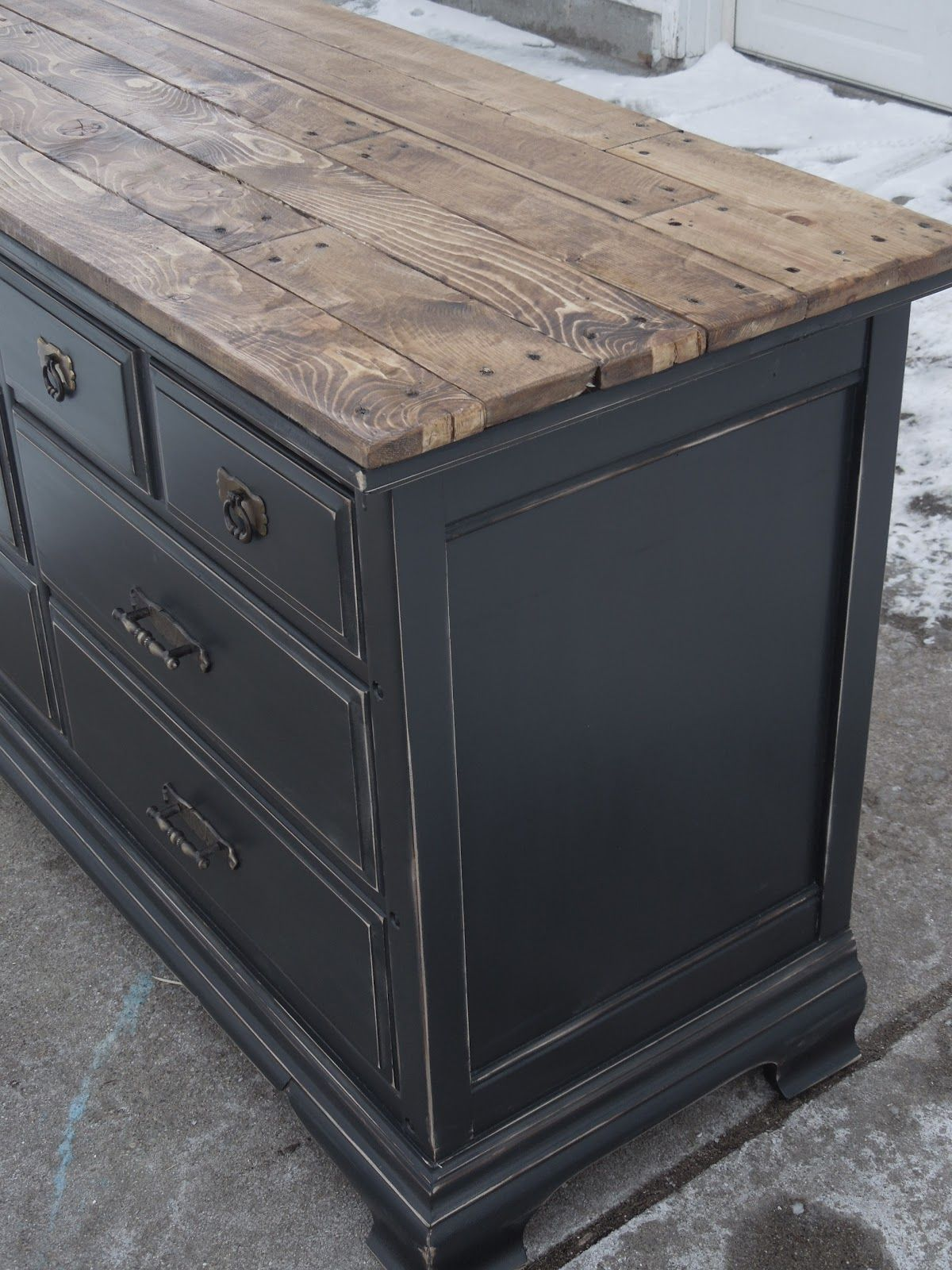Beautiful Dresser Painted Black And Lightly Distressed Stained