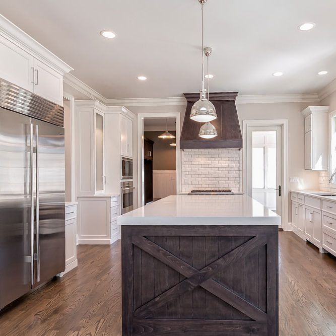 Beautiful Contrast Of A Thick White Quartz Countertop And A Rustic Wooden  Island And Accent.