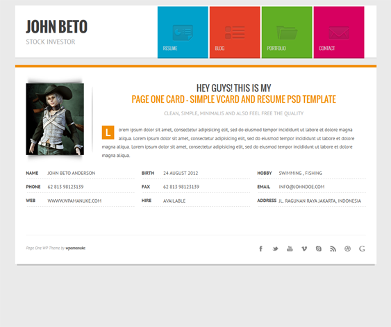 this cv wordpress theme offers a working ajax contact form  a responsive layout  6 predefined