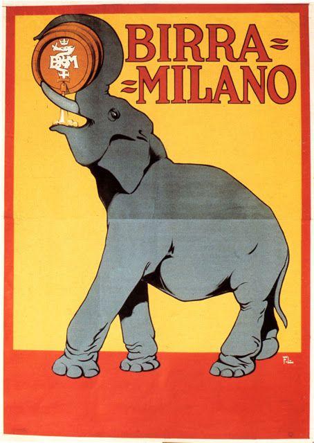 Vintage Italian Posters ~Franz Laskoff, Birra Milano, 1912