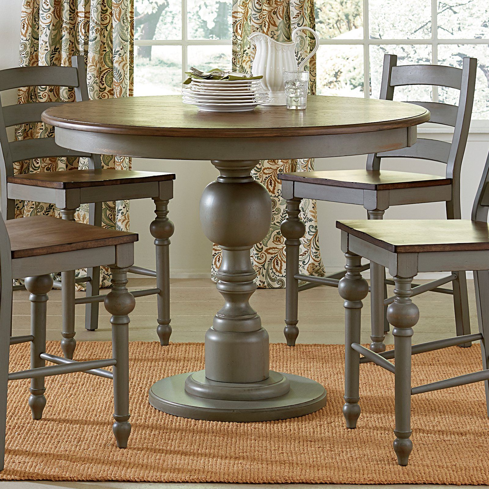 The Progressive Colannades Collection Round Counter Height Table Boasts All The Charm Of A Round Counter Height Table Painted Kitchen Tables Round Dining Table