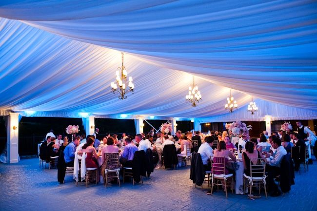 Blue uplighting with fabric ceiling perfect for our Skyline Terrace Tent. & Gorgeous #outdoor #weddingtent with #blue #uplighting ...