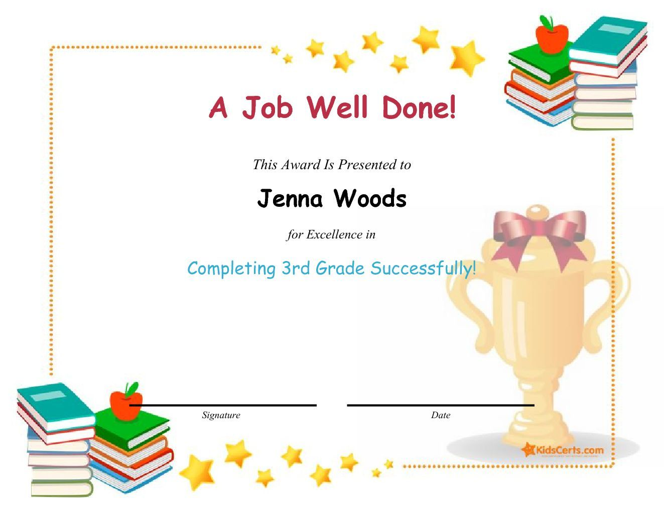 A job well done completing 3rd grade successfully