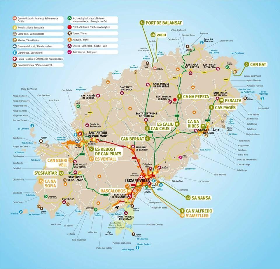 Ibiza map. Ons appartement zit helemaal rechtsbovenin | We are going ...