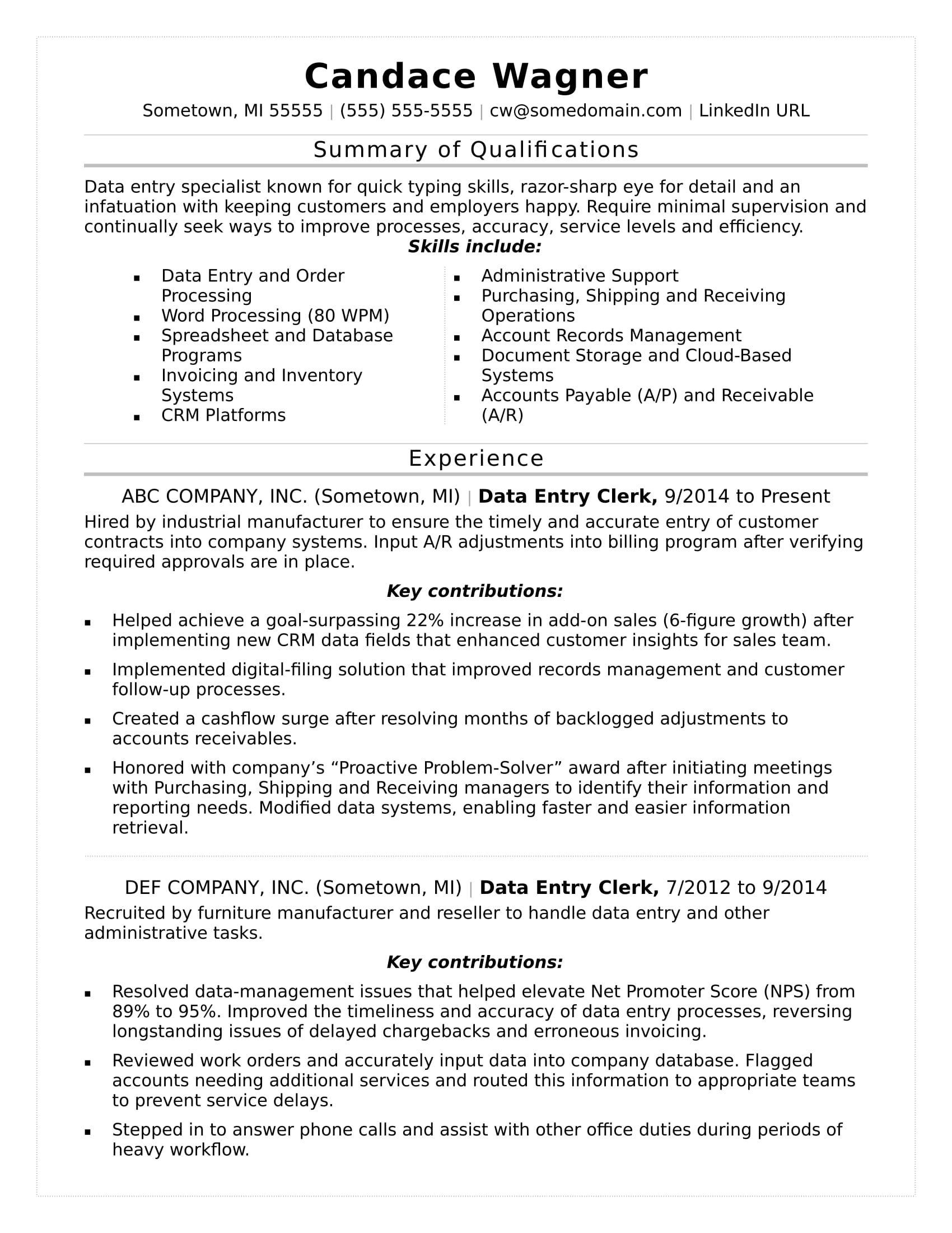 Data entry resume sample resume template word resume