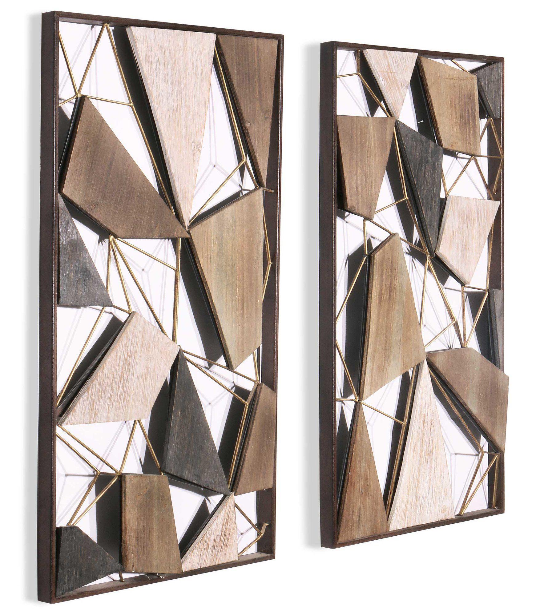 2 piece geometric wood and metal wall decor set