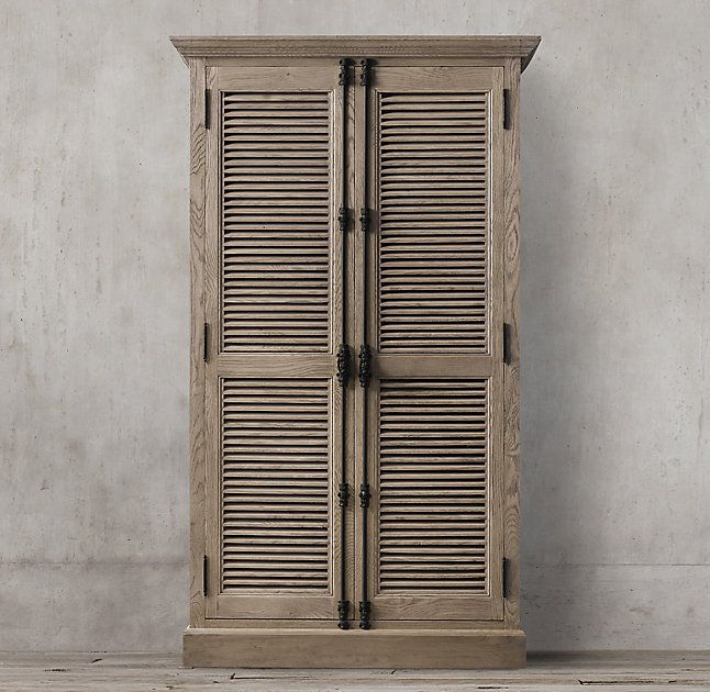 Rh 39 S Shutter Double Door Cabinet Angled Louvers An Architectural Detail First Used In Ancient Greece Have Found A New Place Cabinet Shutters Double Doors