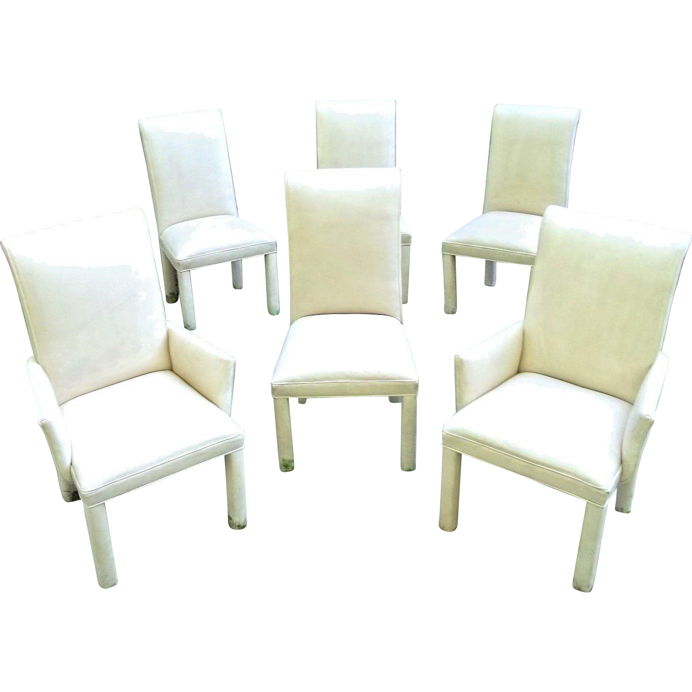 Set Of 6 Mid Century Modern Milo Baughman White Leather Parsons