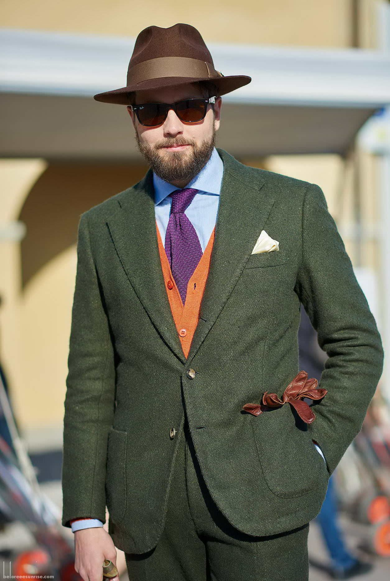 Beutiful Green Suit With Orange Knit Vest And Purple Knit