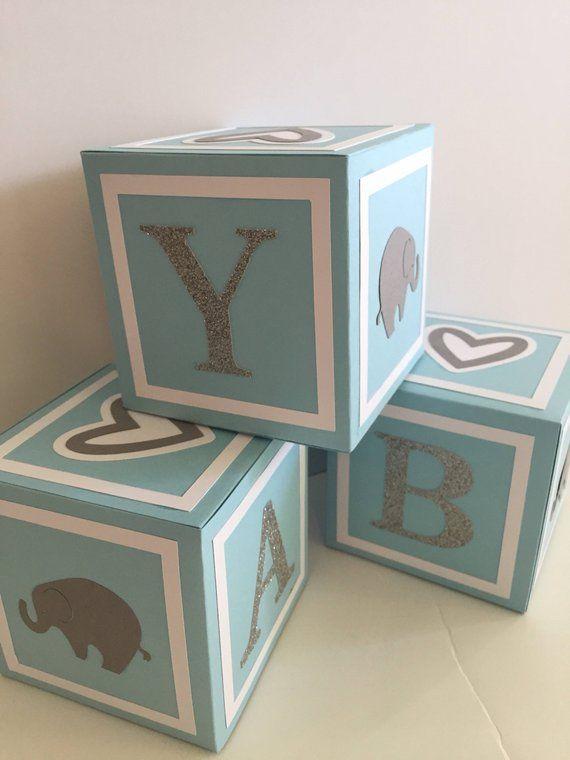 Boy Elephant Baby Shower Decoration Alphabet Block Centerpiece