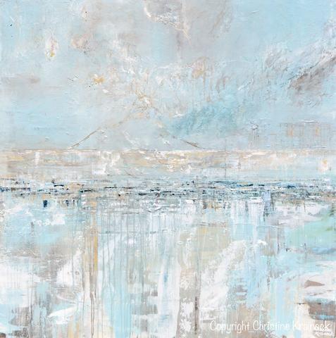 Original Art Abstract Painting Textured Canvas Coastal