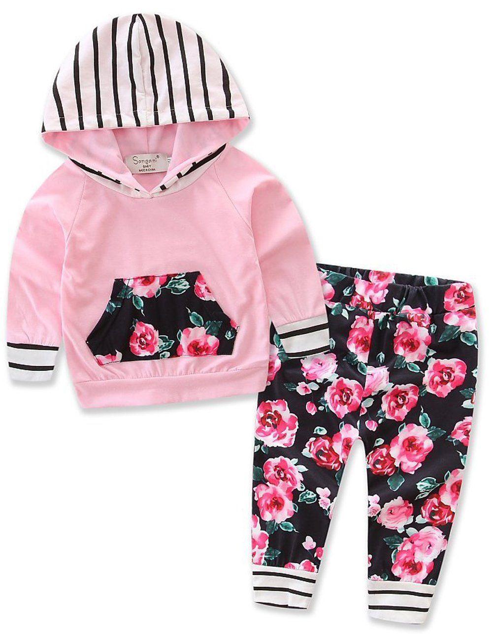 ece8644cc12c Thrivqyaf Baby Girls Floral Hoodie+ Floral Pant Set Leggings 2 Piece ...