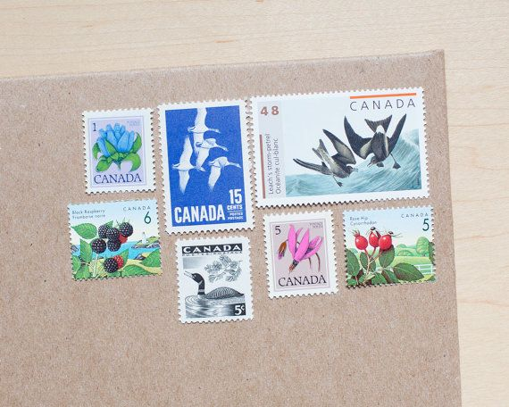 7 canadian vintage curated postage stamps for mailing for Stamps for wedding invitations canada