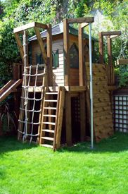 fort with fire pole rock wall rope ladder find this pin and more on toddler playground