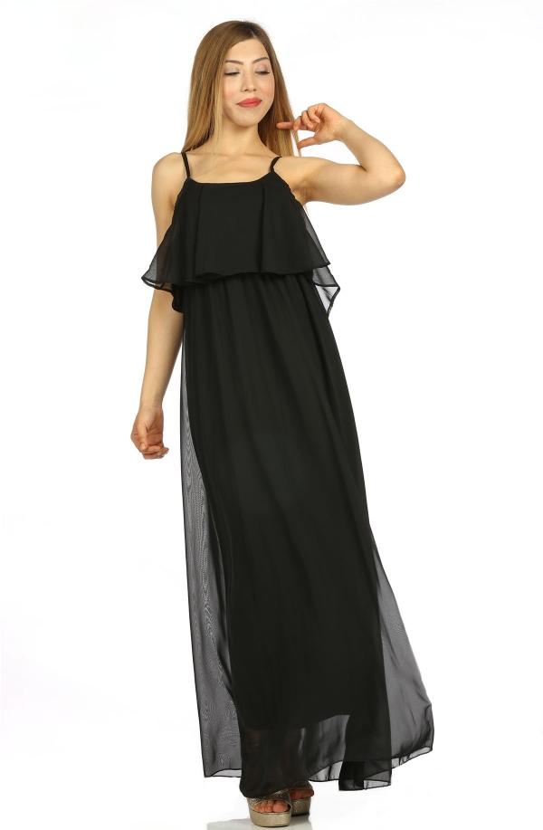 Siyah Sifon Elbise 182892 Kapida Odemeli Ucuz Bayan Giyim Online Alisveris Sitesi Modivera Com Sifon Elbise Elbise Elbise Modelleri