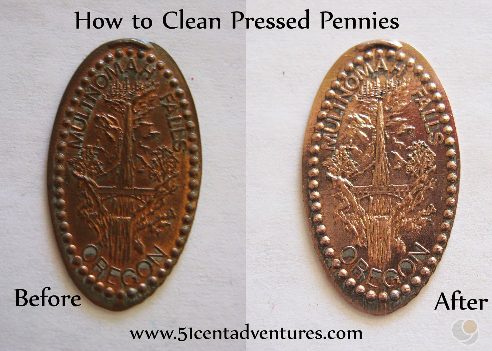 Before and after of cleaning a very tarnished pressed for Create your own penny