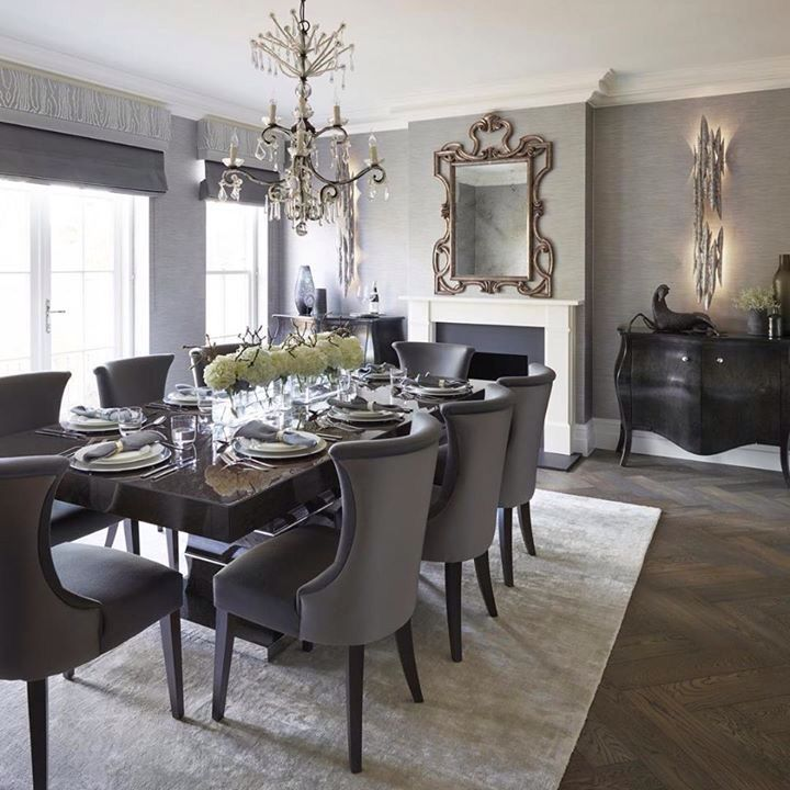Formal Dining Room Design: Lovely Formal Dining Room With Area Rug And Upholstered