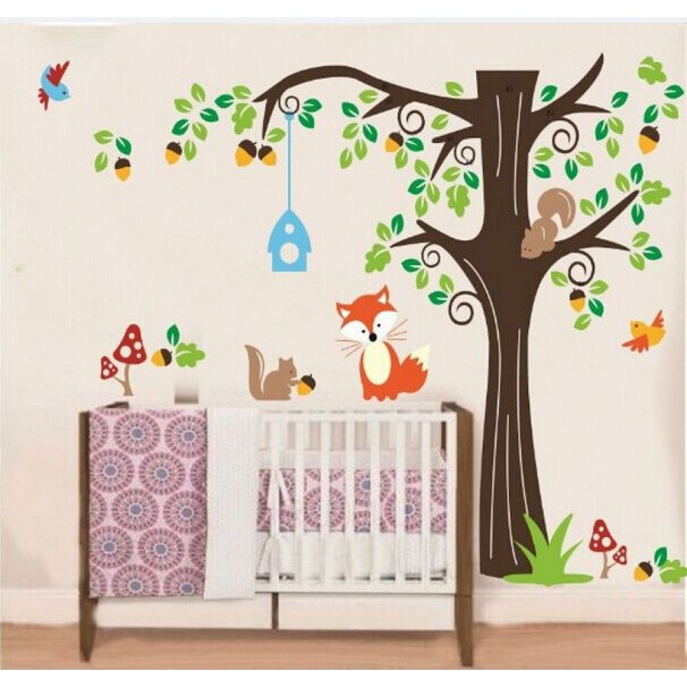 Tree Wall Sticker For Nursery Squirrel Fox Mushroom Wall Decal - Nursery wall decals australia
