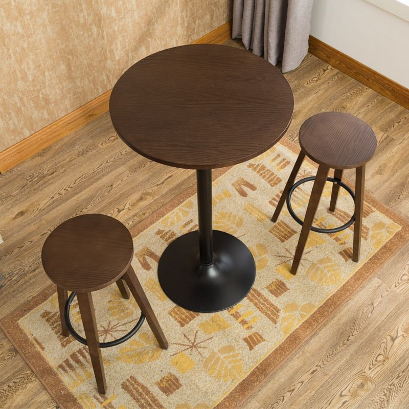 3 Pcs Bar Stool Table Set Indoor Kitchen Dining Cafe Furniture Round Bar Table Chair For Home Restaurant Breakfast Table Woo Pub Table Sets Pub Table Bar Table