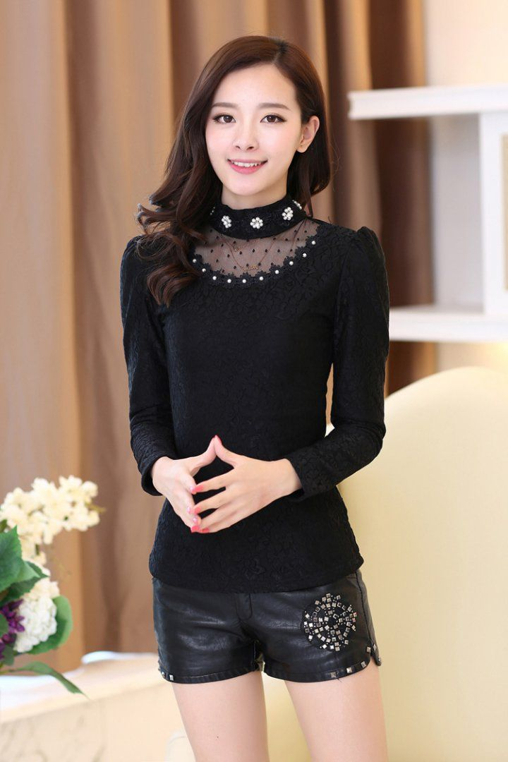 CT08951 Thick Korean style small shirt lace thin chiffon shirt for ...