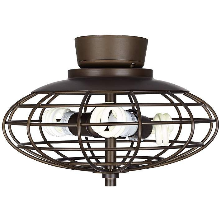 Oil rubbed bronze industrial cage 3 60 watt ceiling fan light kit y2846