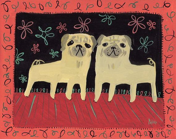 Two Fawn Pugs Art Print With Border Black And Coral Red Teal
