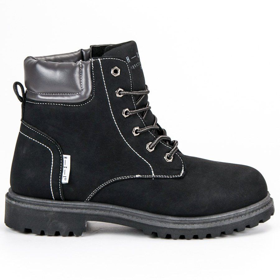 Trekkingowe Meskie Butymodne Czarne Trapery Boots Combat Boots Army Boot