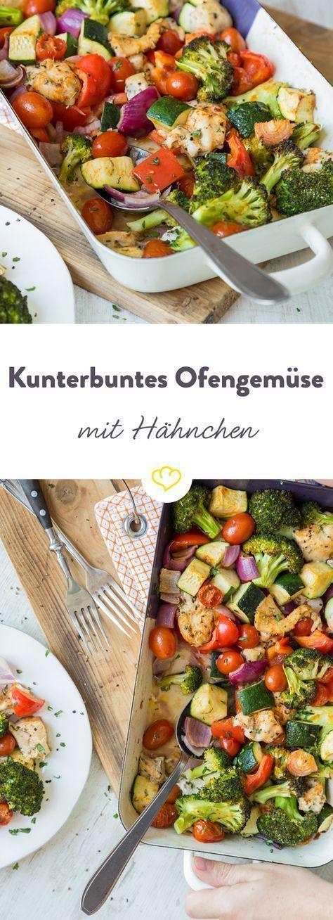 In nur 20 Minuten fertig: Kunterbuntes Ofengemüse mit Hähnchen #mediterraneanrecipes