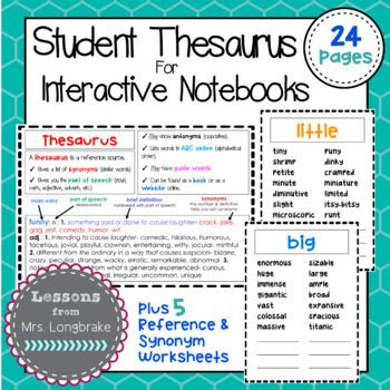 Thesaurus Synonym Interactive Notebook Mini Pages
