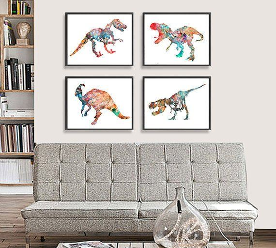 dinosaur art print kids wall decor children art set of 4 rh pinterest com