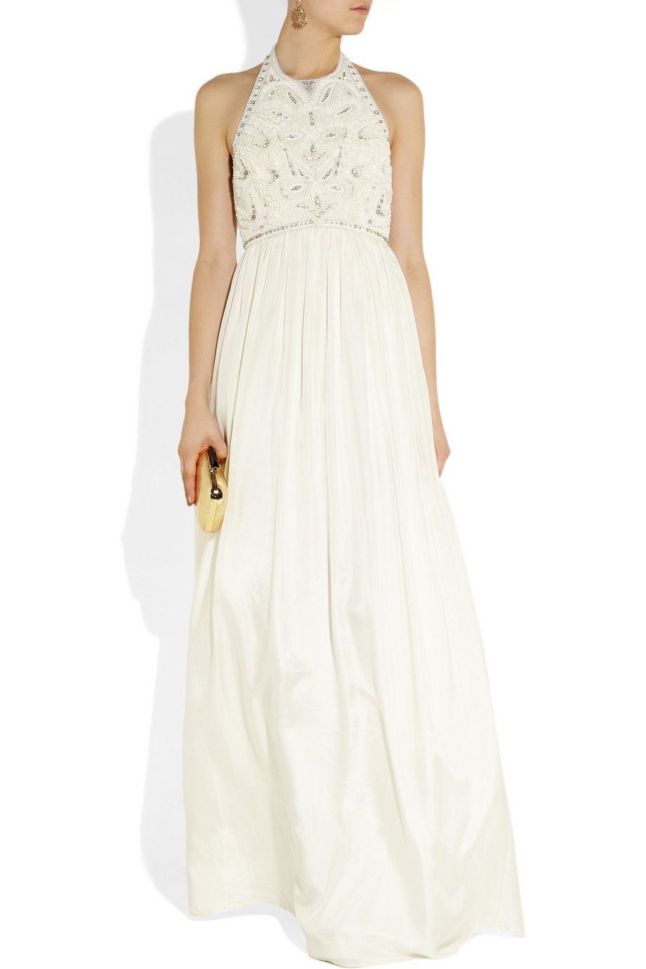 Matthew Williamson | Crystal and faux pearl-embellished silk gown ...