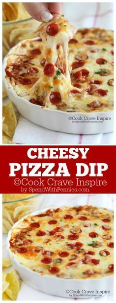 Cheesy Pizza Dip recipe. A delicious creamy cheesy pizza dip loaded with sauce & your favorite toppings, hot from the oven!  A big hit at every party!
