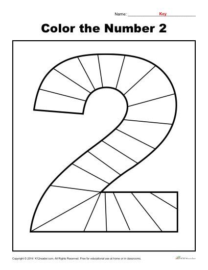 Color The Number 2 Numbers Preschool Preschool Number
