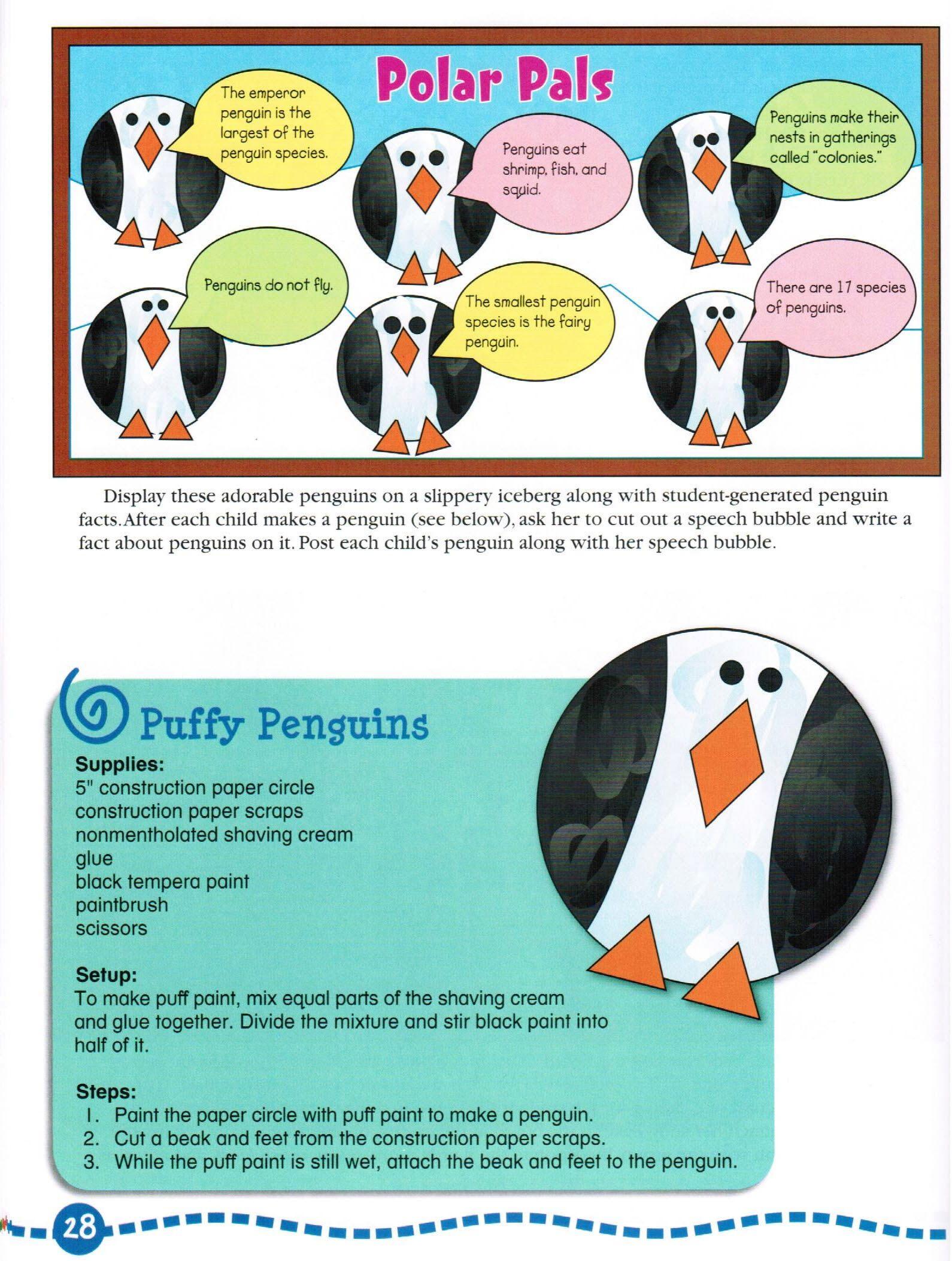 Penguins Bulletin Board and Craft | School Ideas | Preschool